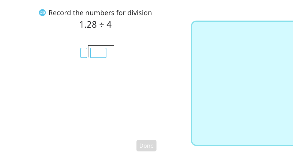 Use long division to divide a decimal number by a single-digit number with quotients that include 0