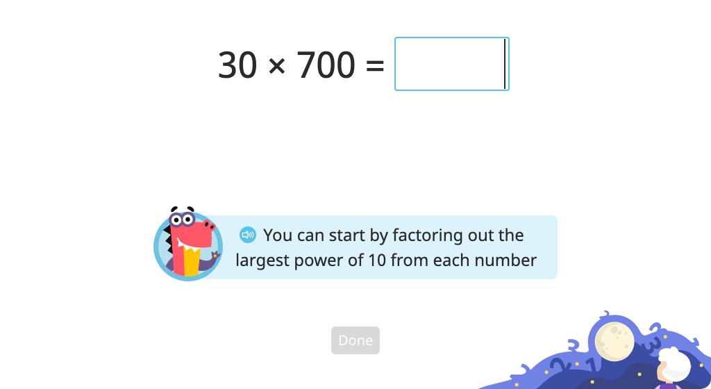 Solve a multi-digit multiplication problem mentally