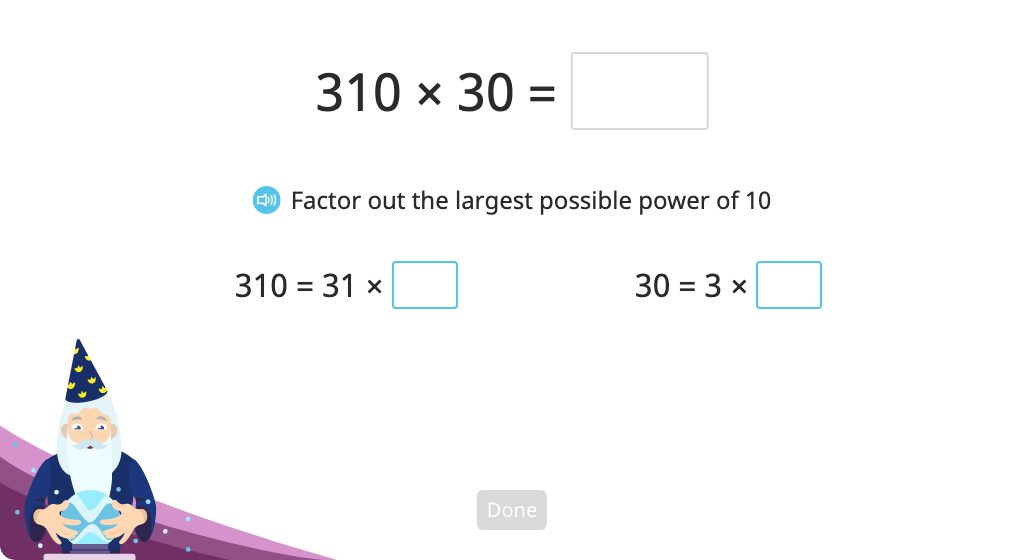 Solve a multi-digit multiplication problem using factoring out and properties of multiplication (Level 2)