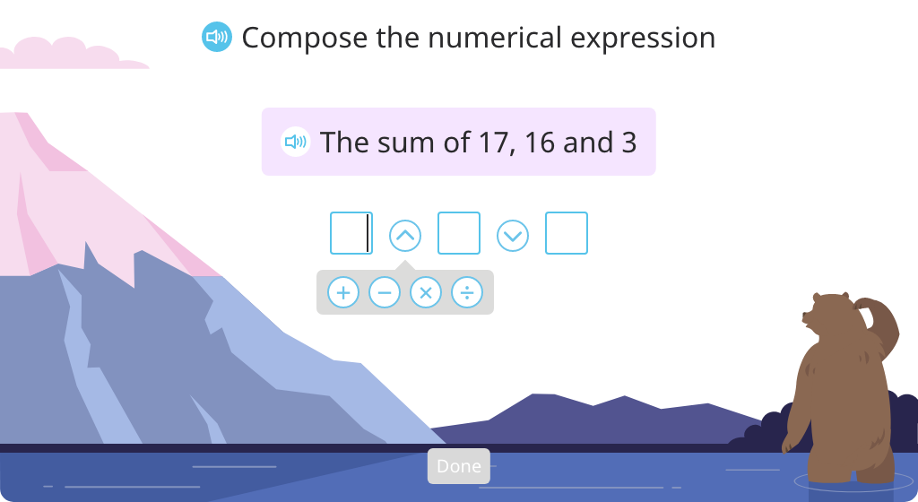 Compose addition and multiplication expressions with multiple addends or factors
