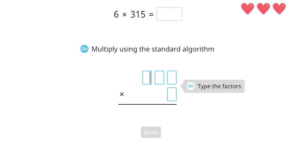 Multiply using the standard algorithm (1-digit by 4-digit)