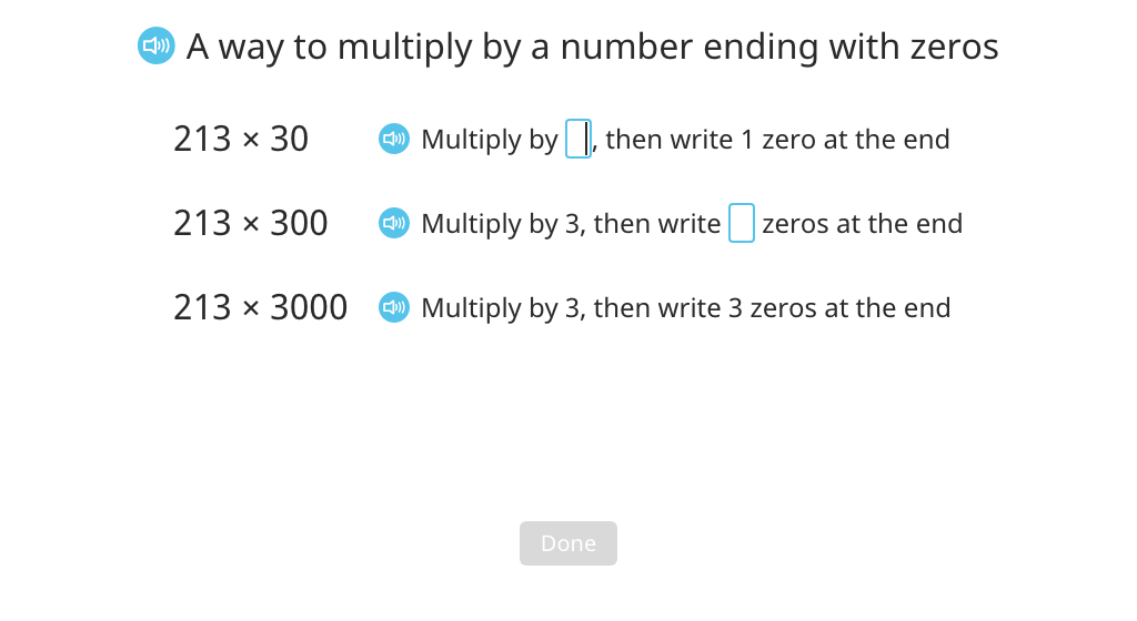 Solve related multiplication expressions after factoring out powers of 10