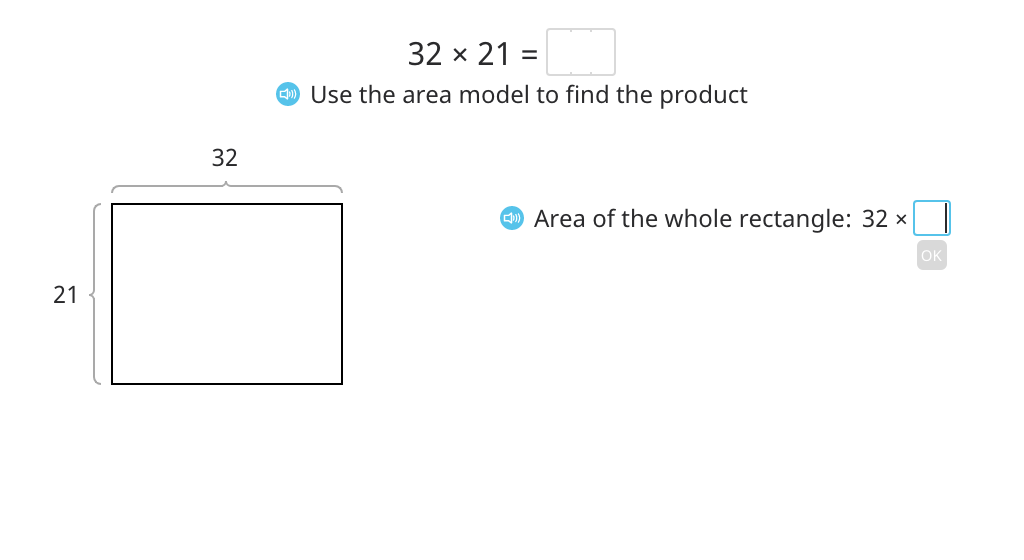 Multiply using an area model and the standard algorithm