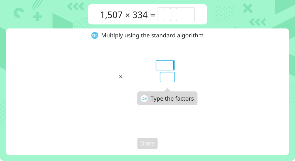 Multiply using the standard algorithm (3-digit by 4-digit) (Part 2)