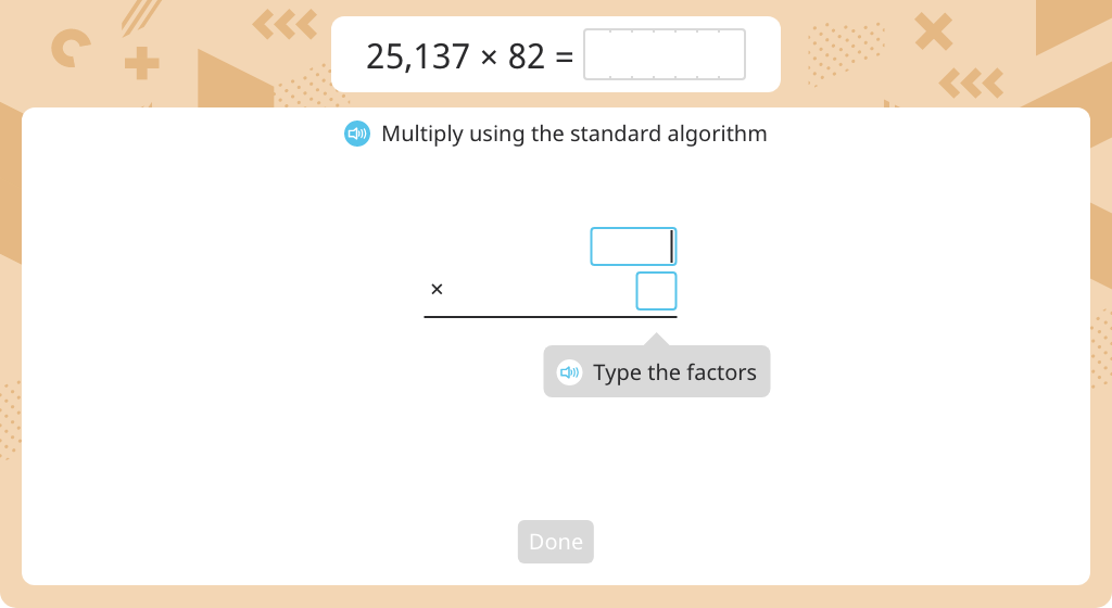 Multiply using the standard algorithm (2-digit by 5-digit)