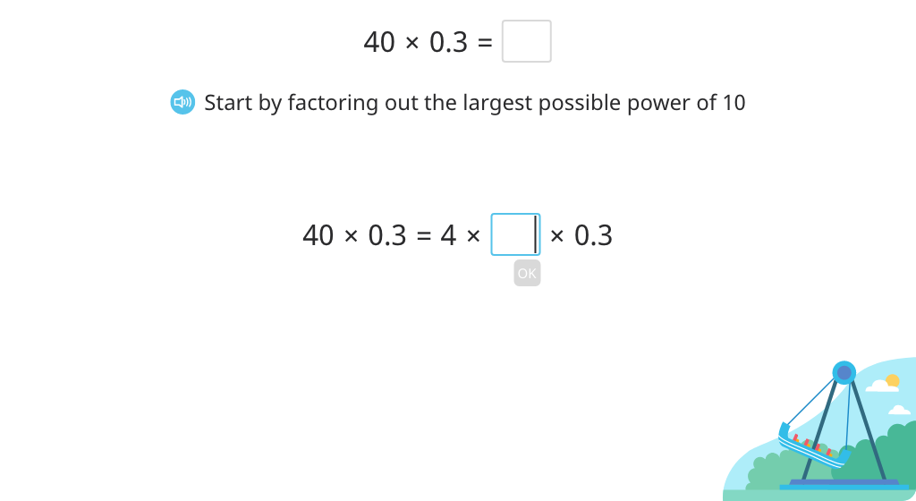 Multiply a decimal number by a round number by factoring out powers of 10