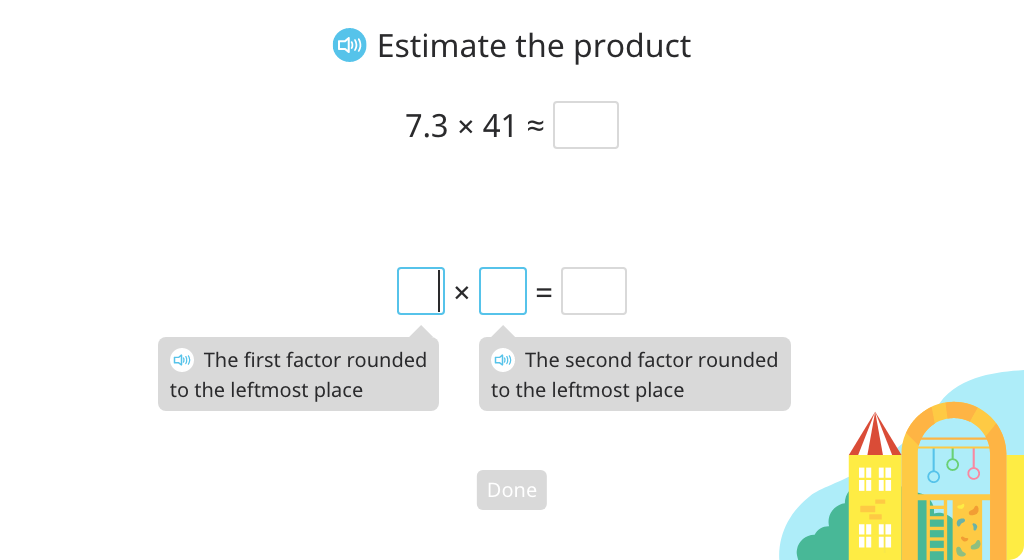 Estimate the product of a decimal number and a 3-digit whole number then solve using the standard algorithm