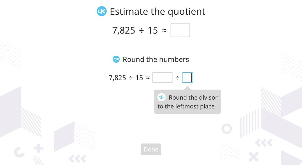 Estimate a quotient of a multi-digit division equation (Level 1)