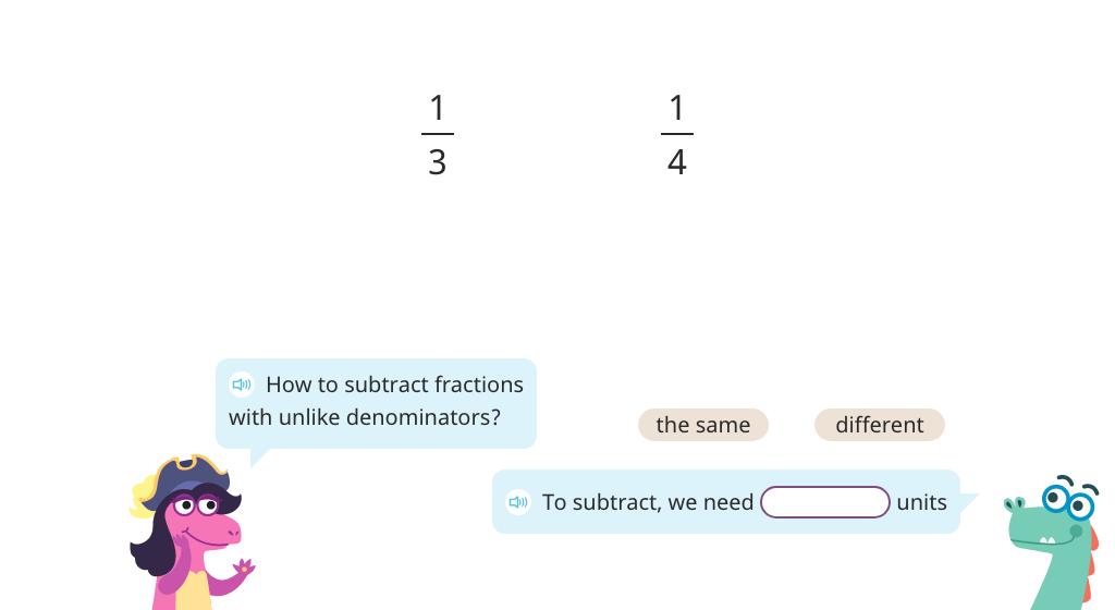 Subtract fractions with unlike denominators (multiply denominators to find a common denominator)