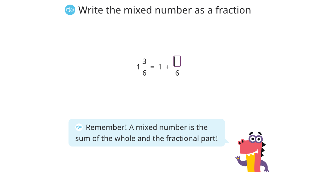 Rewrite a mixed number as an improper fraction