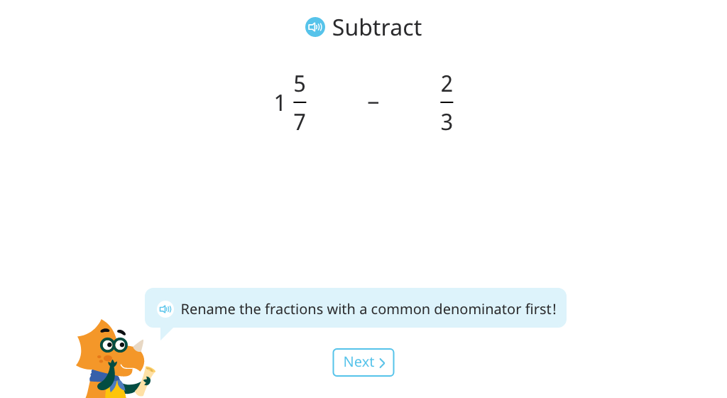 Subtract a fraction from a mixed number with unlike denominators (rename the mixed number as a fraction)