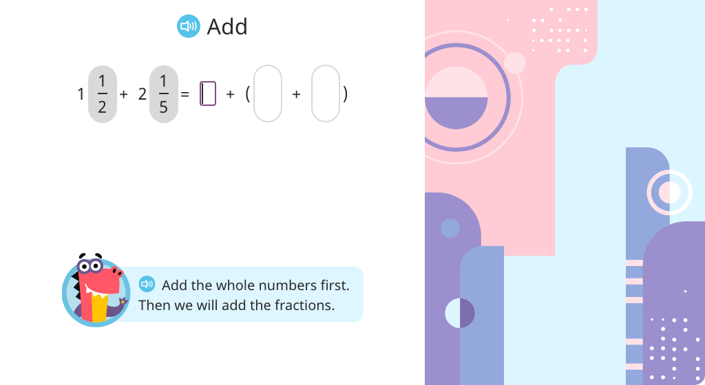 Add mixed numbers with unlike denominators (Level 1)