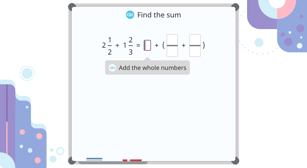 Add mixed numbers with unlike denominators (Level 2)