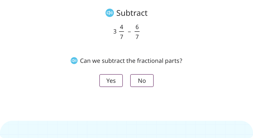 Subtract a fraction from a mixed number with like denominators (rename the mixed number)