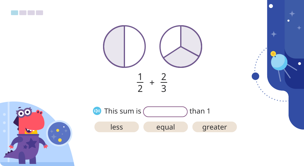 Compare fractions with unlike denominators to ½ to estimate the sum