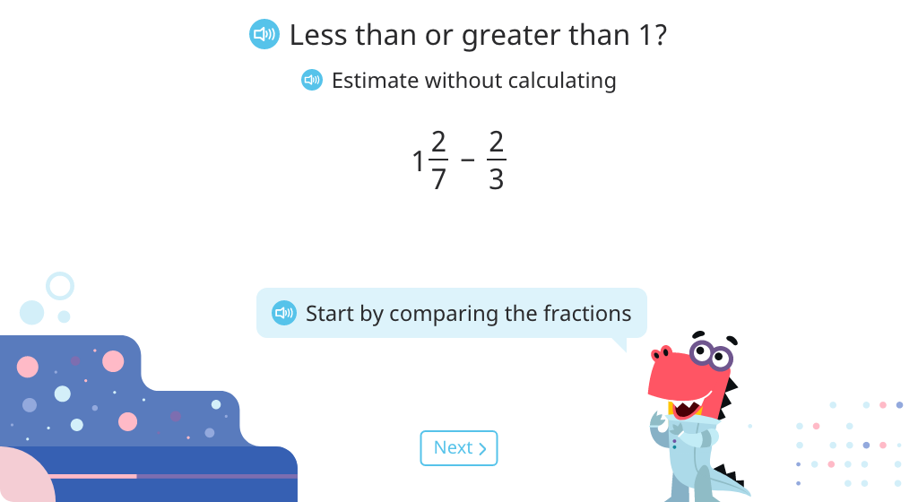 Compare fractions with unlike denominators to estimate the difference of a mixed number minus a fraction