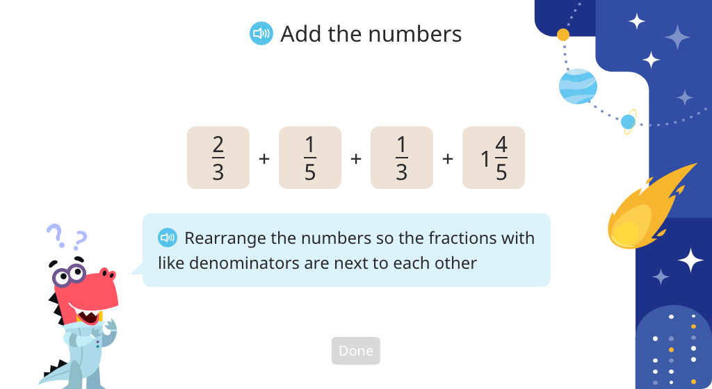 Add multiple mixed numbers and fractions