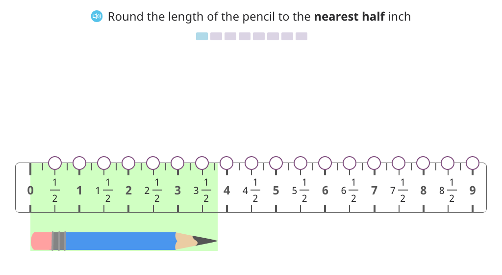 Round to the nearest half inch on a ruler to create a line plot and analyze the data