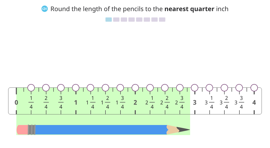 Round to the nearest quarter inch on a ruler to create a line plot and analyze the data