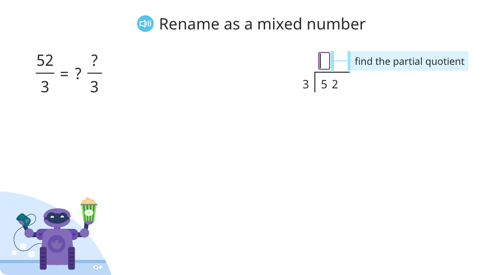 Rename a fraction greater than one as a mixed number (Level 2)