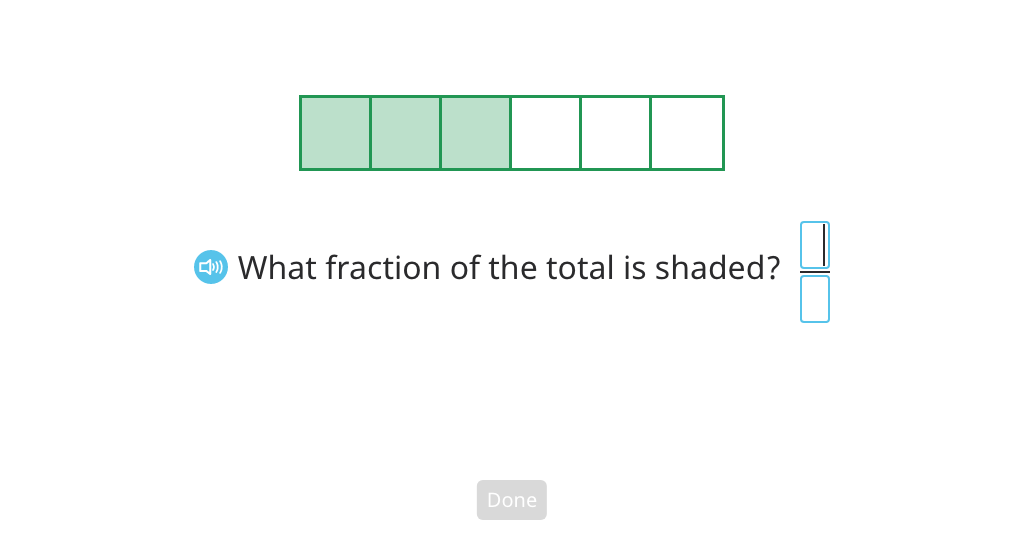 Solve fraction word problems based on a model (Level 1)