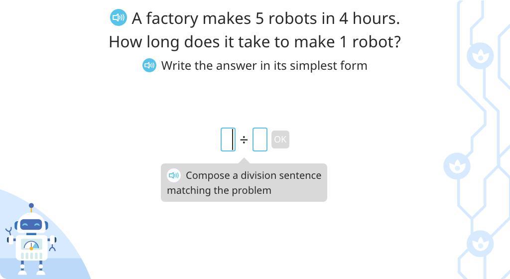Solve fraction word problems based on a model (Level 5)