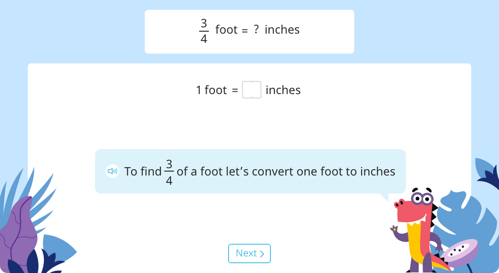 Determine a fraction of a measurement by converting units and multiplying