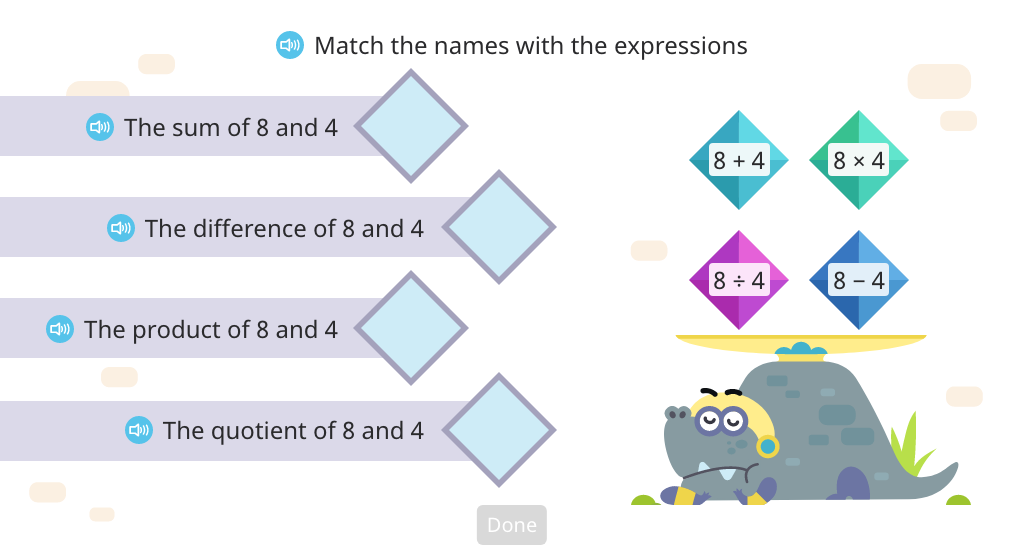 Match operations to the terms sum, difference, product, and quotient