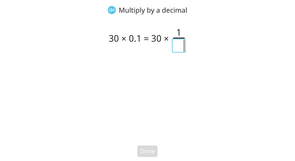 Convert multiplication by a decimal to multiplication by a fraction and solve