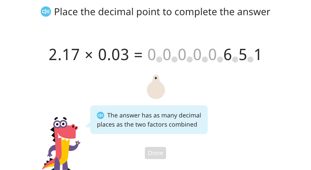 Determine the placement of the decimal point in the product of two decimal numbers