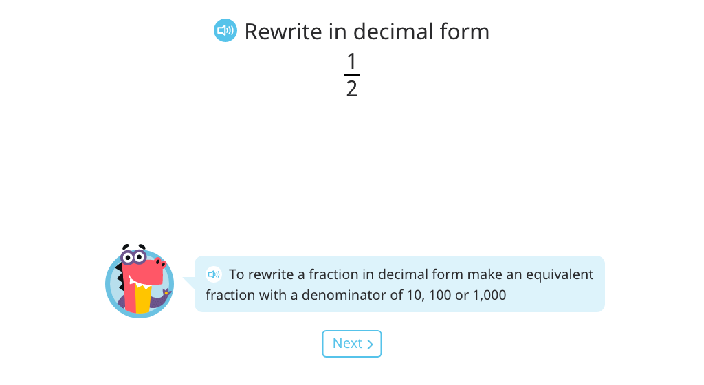 Convert a fraction less than one to decimal form (Level 1)