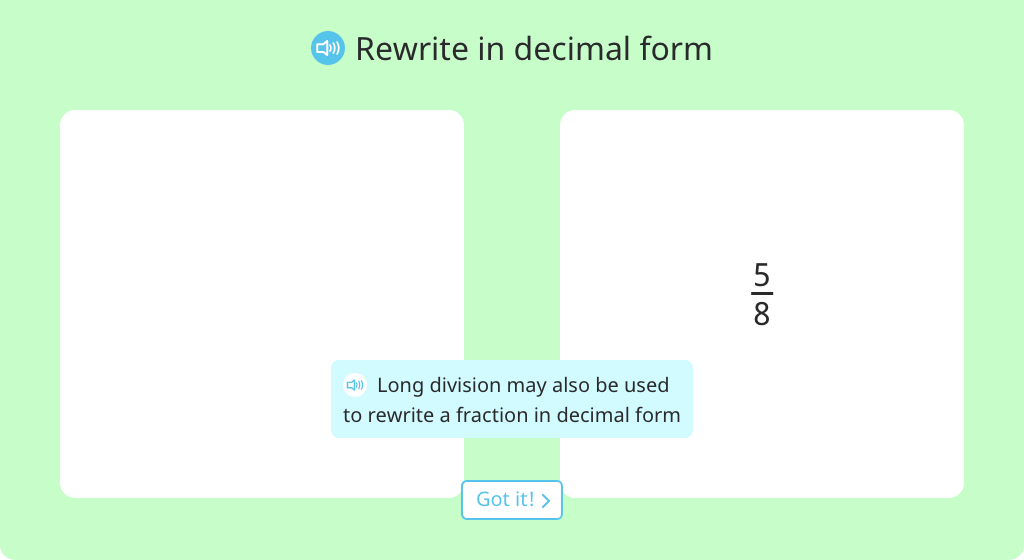 Convert a fraction less than one to decimal form using division