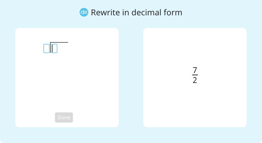 Convert a fraction greater than one to decimal form using division
