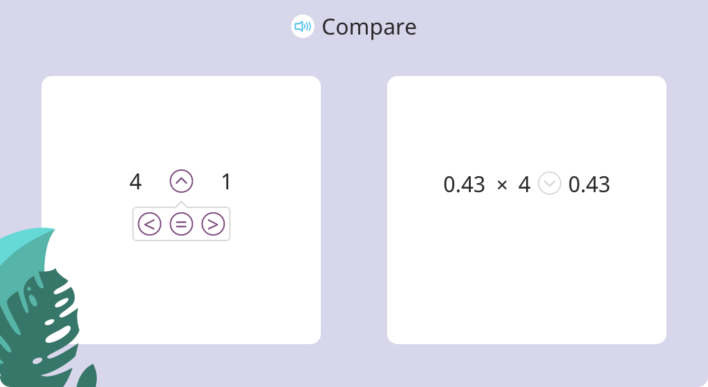 Determine the outcome of multiplication using <, =, or > (Part 1)