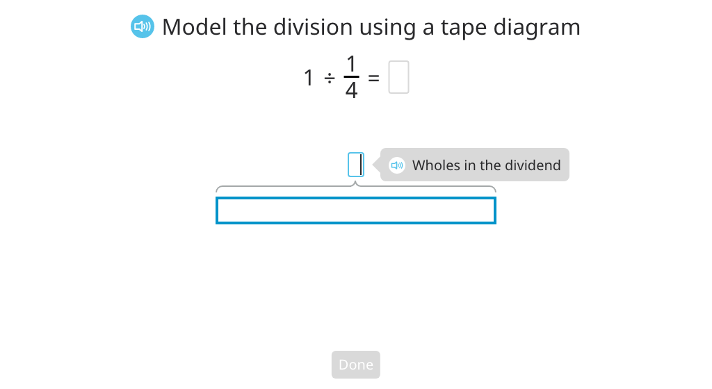 Divide a whole number by a unit fraction based on a tape diagram