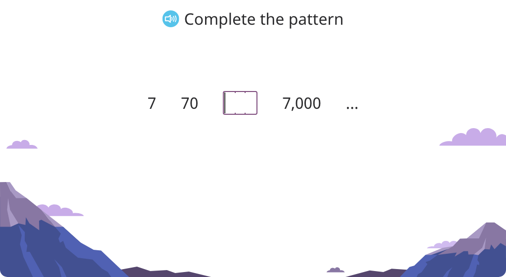 Complete a pattern of multiplication by 10 or 100