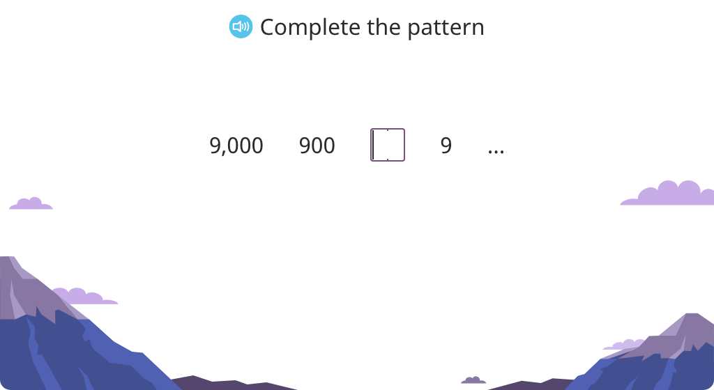 Identify and complete a pattern of division by 10 or 100