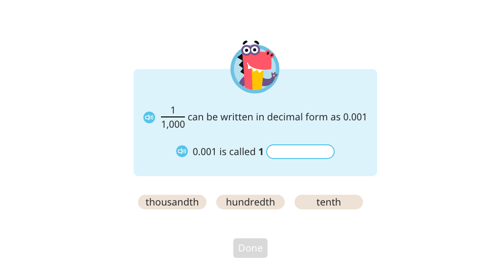 Record the relationship between hundredths and thousandths using a place value chart