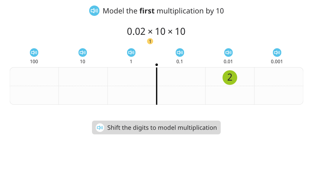 Multiply a decimal number by 100 with and without a place value chart