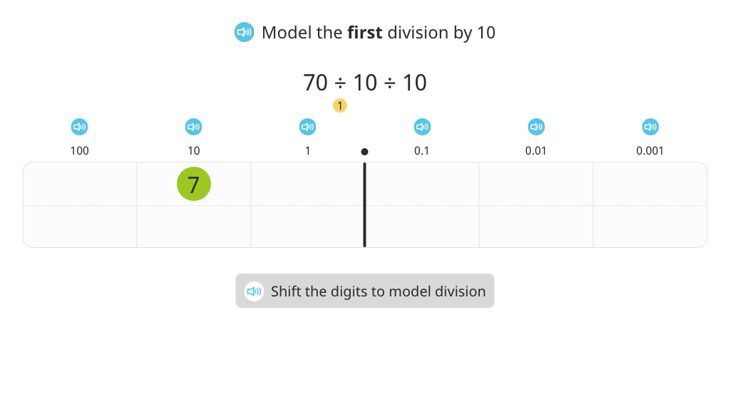 Divide a decimal number by 100 with and without a place value chart