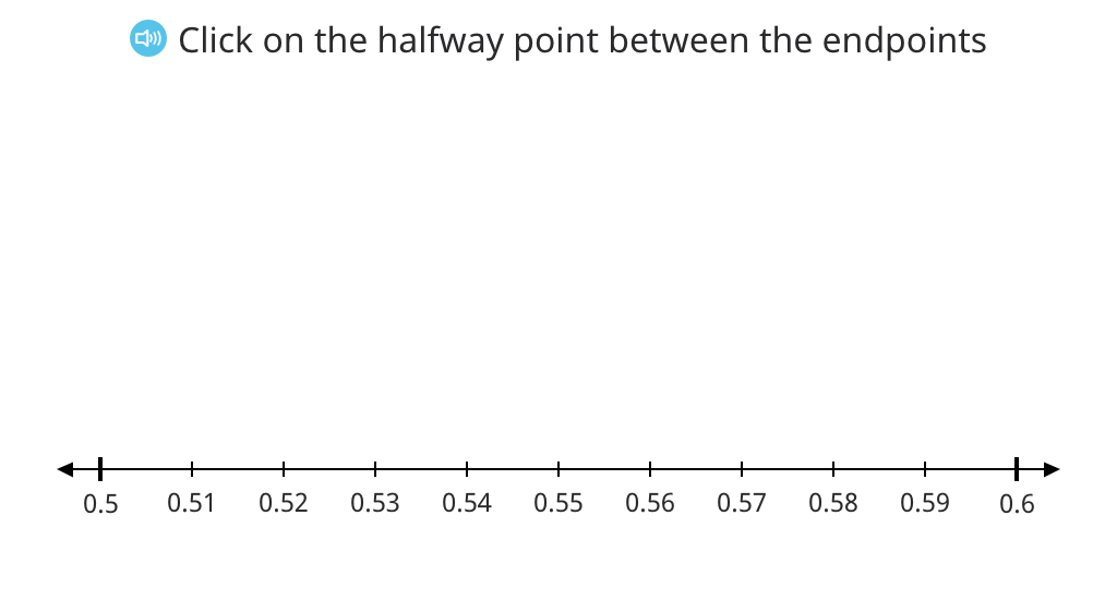 Determine the midway point between two decimal numbers on a number line