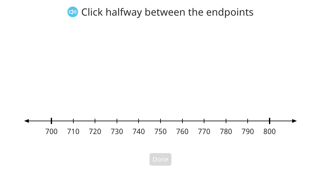 Determine the halfway point between hundreds on a number line (Level 2)