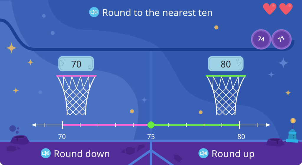 Determine whether a given number rounds up or down to the nearest ten (Level 1)