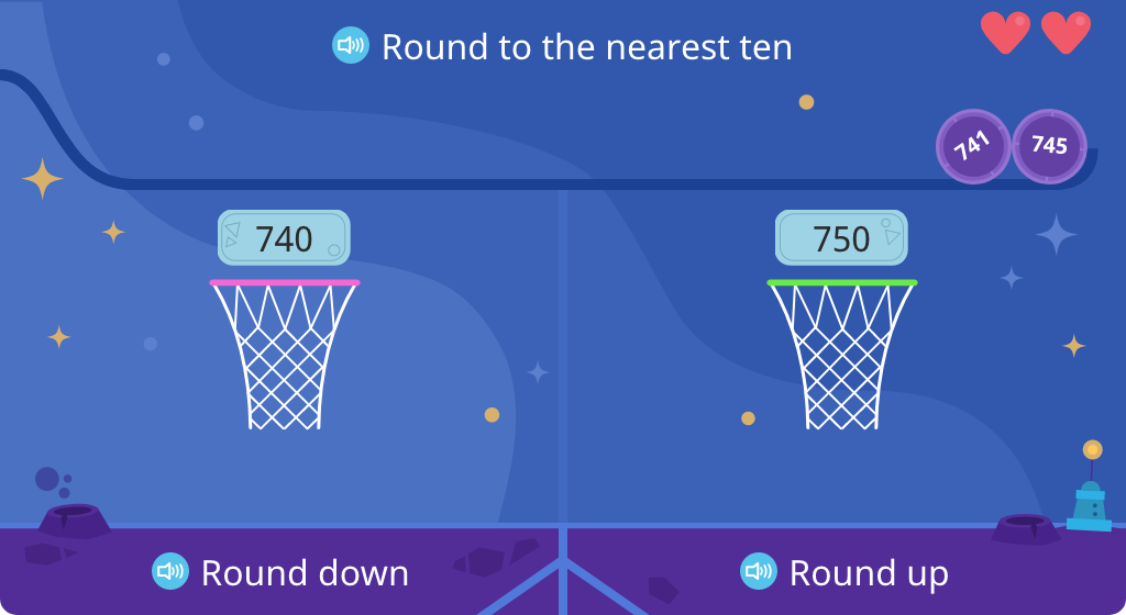 Determine whether a given number rounds up or down to the nearest ten (Level 2)