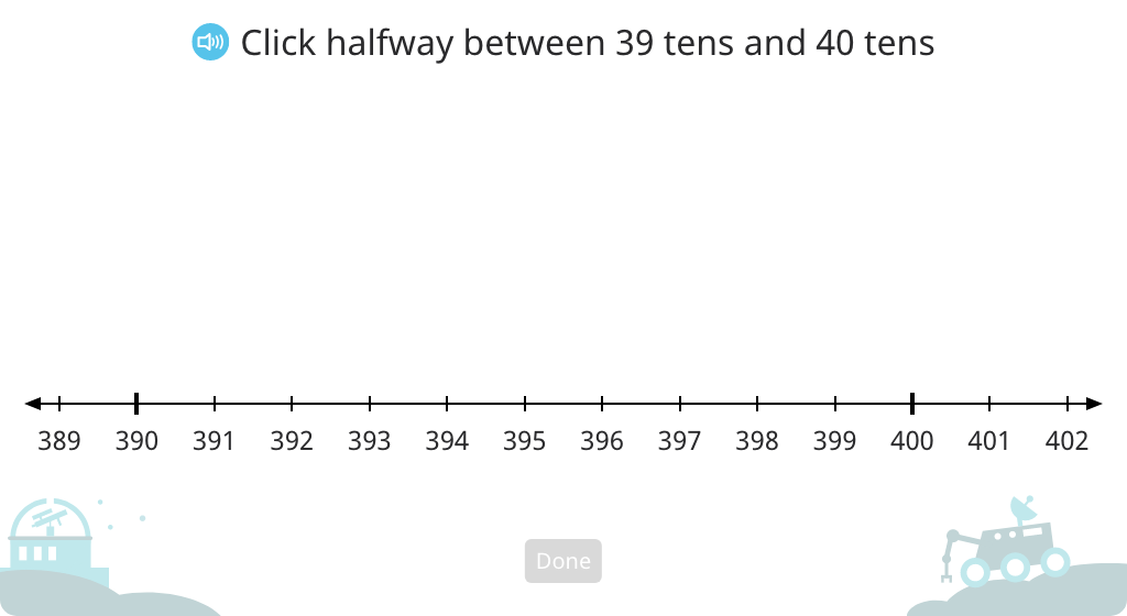 Determine the midway point between two multi-digit numbers using a number line
