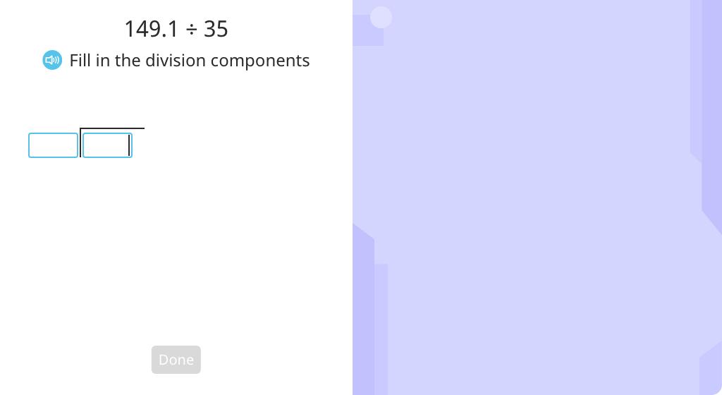 Solve long division of a decimal number (Level 2)
