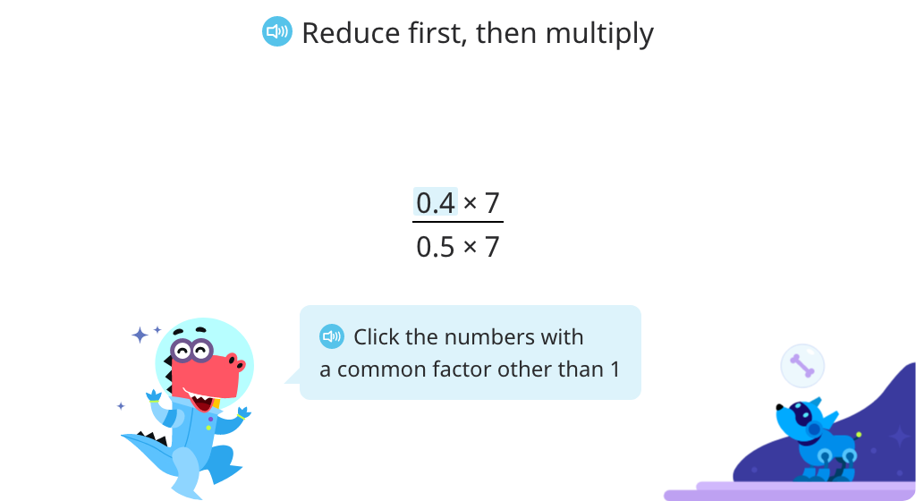 Complete fraction expressions using the basic property of fractions