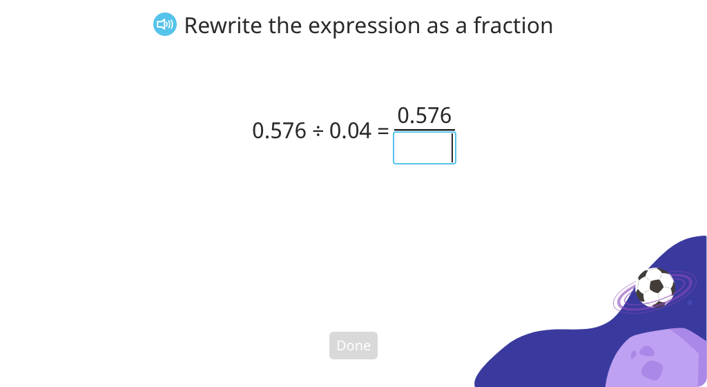 Convert fractions with decimal denominators to fractions with whole number denominators (Level 3)