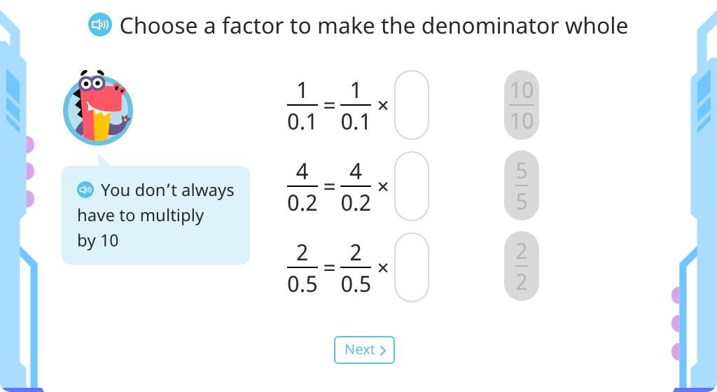 Convert fractions with decimal denominators to fractions with whole number denominators (Level 4)