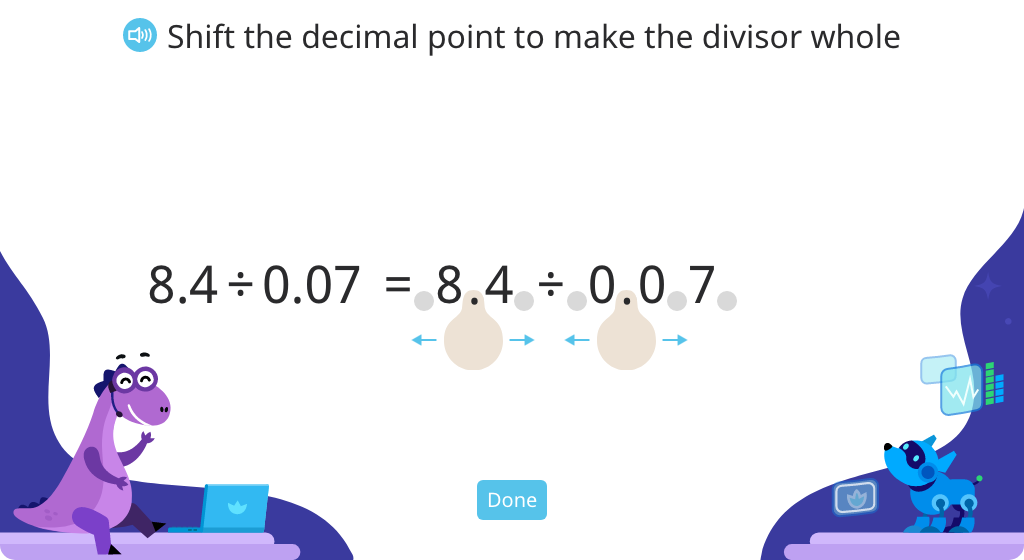 Convert division expressions with decimal divisors to expressions with whole number divisors (Level 2)